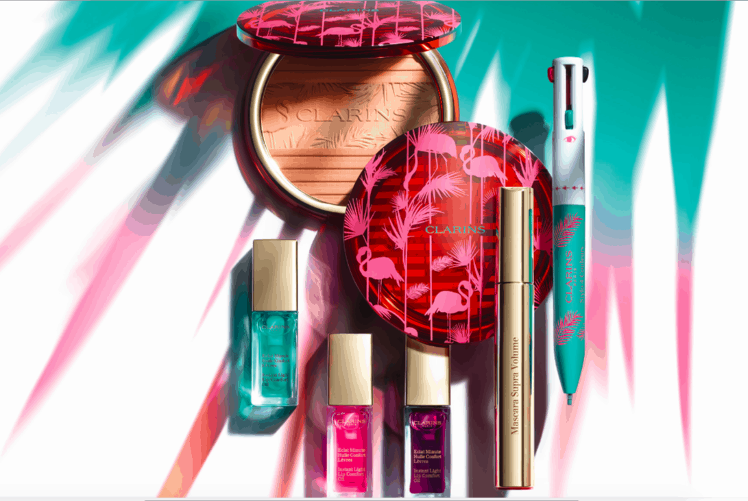Palme stilizzate e fenicotteri rosa, ecco la Collezione Make up Clarins Estate 2018!